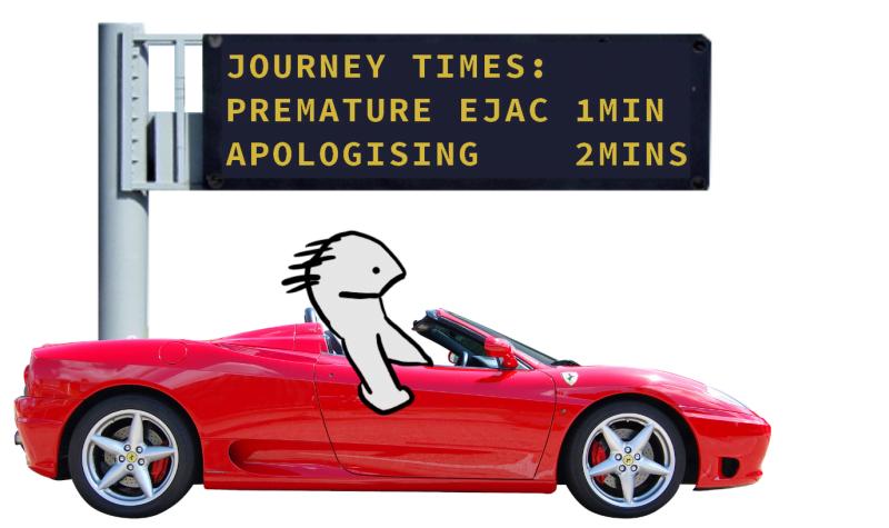 Cartoon of man speeding towards premature ejaculation
