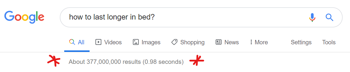 Asking Google how to last longer in bed